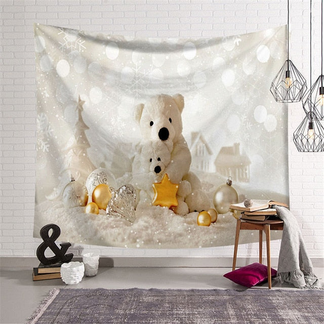 White Teddy Christmas Tapestry