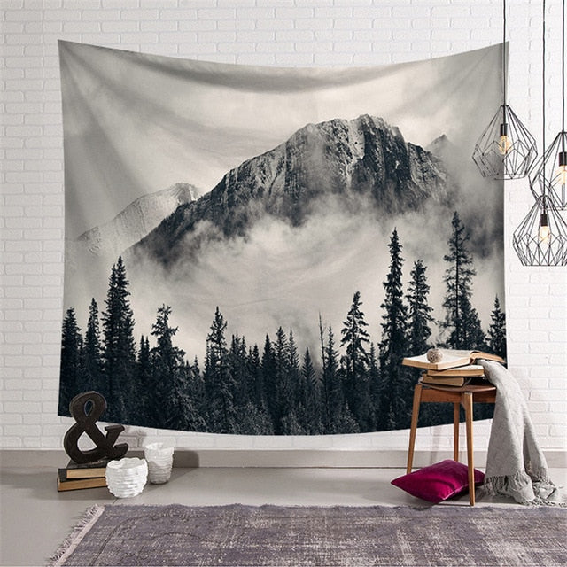 Black and White Forest Tapestry