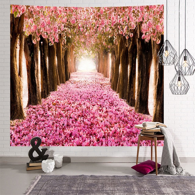 Scenic Forest Blossom Tapestry