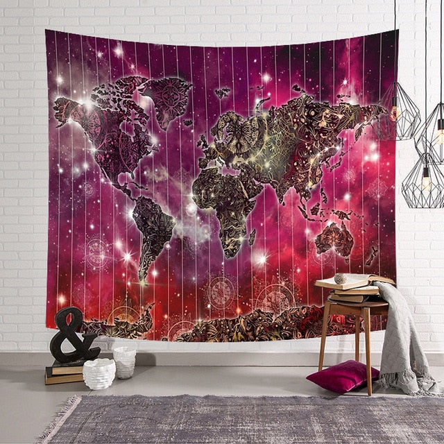 Galactic World Map Tapestry