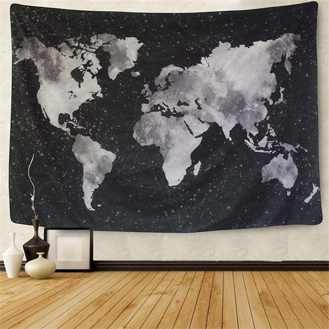 Starry World Map Tapestry