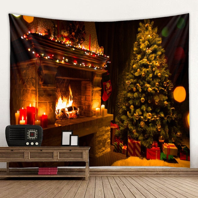 Christmas Tree Fireplace Tapestry