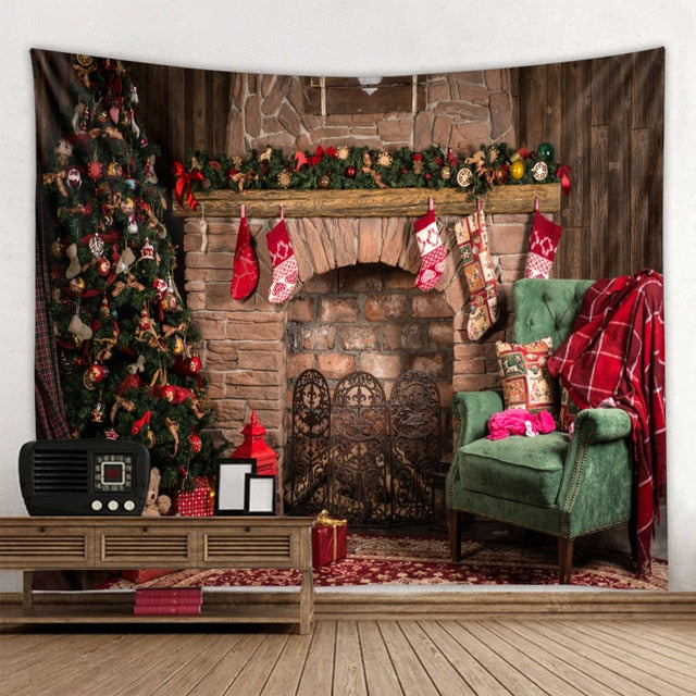 Brick Fireplace Christmas Tapestry
