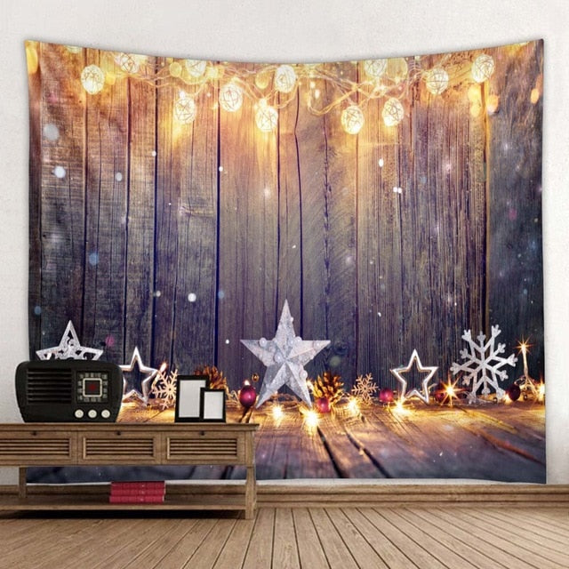 Wooden Pattern Christmas Tapestry
