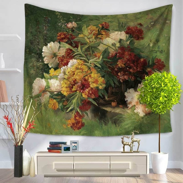 Euro Style Flower Tapestry
