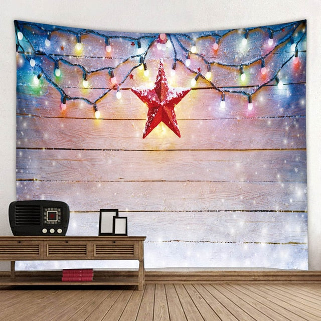 Wooden Pattern Christmas Star Tapestry