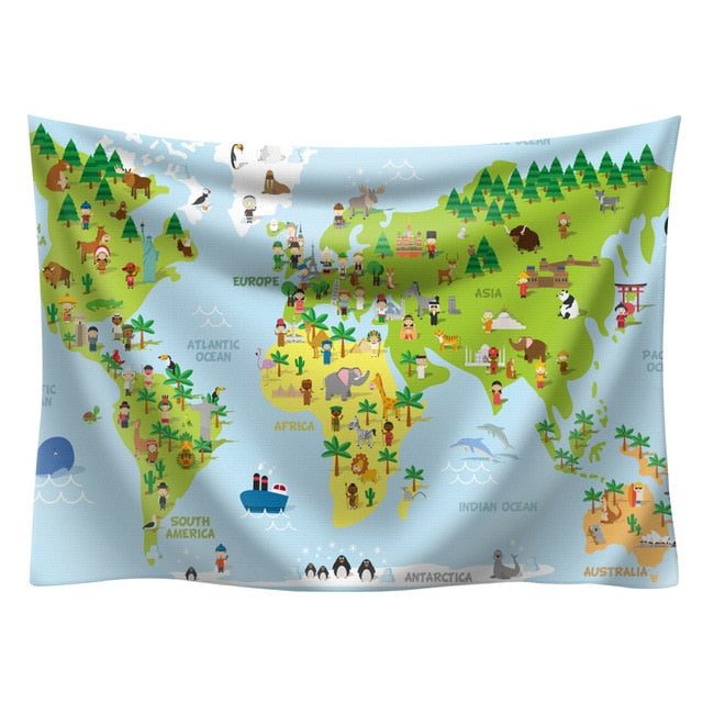 World Map Kids Tapestry