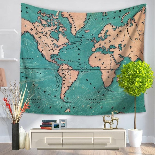 Teal World Map Tapestry