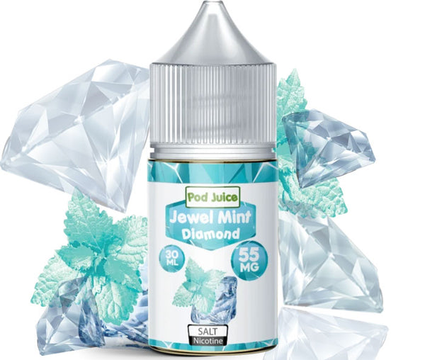 A bottle of Jewel Mint Diamond pod juice with light-turquoise graphics