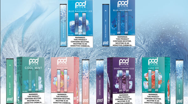 Six double packs of Pod Juice Pod Sticks against a background of ice