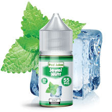 A bottle of Jewel Mint Sapphire pod juice with blue graphics