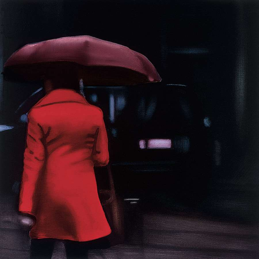 222407_C1 'Lady in Red' by artist Xavier Visa - Wall Art Print on Textured Fine Art Canvas or Paper - Digital Giclee reproduction of art painting. Red Sky Art is India's Online Art Gallery for Home Decor - 111_VXP100