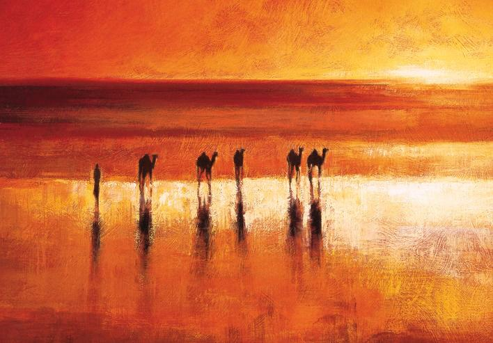 45192_C1 - titled 'Camel Crossing' by artist Jonathan Sanders - Wall Art Print on Textured Fine Art Canvas or Paper - Digital Giclee reproduction of art painting. Red Sky Art is India's Online Art Gallery for Home Decor - 55_WDC21183