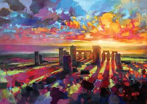 45129_C1 - titled 'Stonehenge Equinox' by artist Scott Naismith - Wall Art Print on Textured Fine Art Canvas or Paper - Digital Giclee reproduction of art painting. Red Sky Art is India's Online Art Gallery for Home Decor - 55_WDC96373