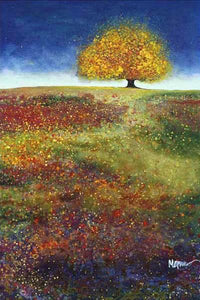 34513_C1_- titled 'Dreaming Tree In The Field' by artist Melissa Graves-Brown - Wall Art Print on Textured Fine Art Canvas or Paper - Digital Giclee reproduction of art painting. Red Sky Art is India's Online Art Gallery for Home Decor - 761_TR15463