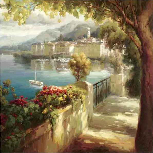 34704_C1_- titled 'By Portofino Light' by artist Roberto Lombardi - Wall Art Print on Textured Fine Art Canvas or Paper - Digital Giclee reproduction of art painting. Red Sky Art is India's Online Art Gallery for Home Decor - 762_TR36618