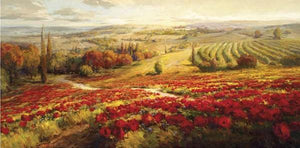 34732_C1_- titled 'Red Poppy Panorama' by artist Roberto Lombardi - Wall Art Print on Textured Fine Art Canvas or Paper - Digital Giclee reproduction of art painting. Red Sky Art is India's Online Art Gallery for Home Decor - 761_TR3063