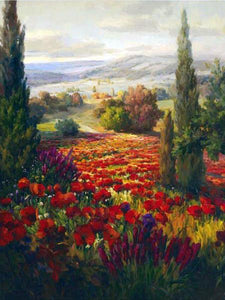 76006_C1_- titled ' Fields of Bloom' by artist Roberto Lombardi - Wall Art Print on Textured Fine Art Canvas or Paper - Digital Giclee reproduction of art painting. Red Sky Art is India's Online Art Gallery for Home Decor - 761_TR3940