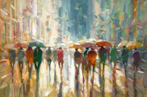 76069_C1_- titled 'Downtown Rain' by artist Eric Jarvis - Wall Art Print on Textured Fine Art Canvas or Paper - Digital Giclee reproduction of art painting. Red Sky Art is India's Online Art Gallery for Home Decor - 761_TR42187
