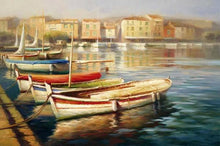 34592_C1_- titled 'Harbor Morning II' by artist Roberto Lombardi - Wall Art Print on Textured Fine Art Canvas or Paper - Digital Giclee reproduction of art painting. Red Sky Art is India's Online Art Gallery for Home Decor - 761_TR5346