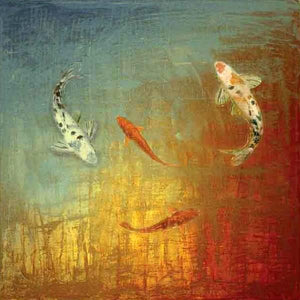 35013_C1_- titled 'Koi Zen' by artist MJ Lew - Wall Art Print on Textured Fine Art Canvas or Paper - Digital Giclee reproduction of art painting. Red Sky Art is India's Online Art Gallery for Home Decor - 762_TR12362