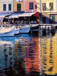 35125_C1_- titled 'Reflections Of Portofino' by artist Tom Swimm - Wall Art Print on Textured Fine Art Canvas or Paper - Digital Giclee reproduction of art painting. Red Sky Art is India's Online Art Gallery for Home Decor - 762_TR18586