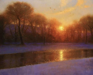 60172_C1_- titled 'Morning on the Missouri ' by artist  Brent Cotton - Wall Art Print on Textured Fine Art Canvas or Paper - Digital Giclee reproduction of art painting. Red Sky Art is India's Online Art Gallery for Home Decor - C3140