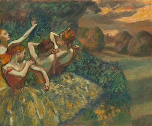 60244_C1_- titled 'Four Dancers' by artist Edgar Degas - Wall Art Print on Textured Fine Art Canvas or Paper - Digital Giclee reproduction of art painting. Red Sky Art is India's Online Art Gallery for Home Decor - D2493