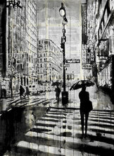 60211_C1_- titled 'Manhattan Moment' by artist Loui Jover - Wall Art Print on Textured Fine Art Canvas or Paper - Digital Giclee reproduction of art painting. Red Sky Art is India's Online Art Gallery for Home Decor - J861