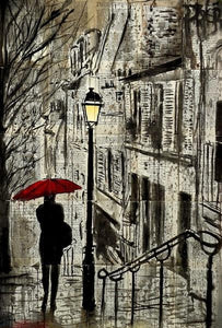 60086_C1_- titled 'The Walk Home' by artist Loui Jover - Wall Art Print on Textured Fine Art Canvas or Paper - Digital Giclee reproduction of art painting. Red Sky Art is India's Online Art Gallery for Home Decor - J862