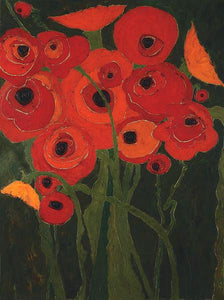 60147_C1_- titled 'Wild Poppies' by artist Karen Tusinski - Wall Art Print on Textured Fine Art Canvas or Paper - Digital Giclee reproduction of art painting. Red Sky Art is India's Online Art Gallery for Home Decor - T698