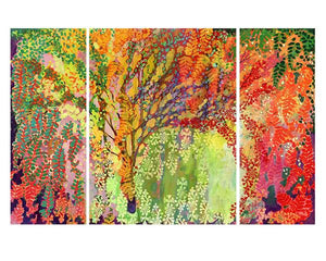 60262_C1_- titled 'Immersed in Summer A B C - 3 Panel Triptych' by artist Jennifer Lommers - Wall Art Print on Textured Fine Art Canvas or Paper - Digital Giclee reproduction of art painting. Red Sky Art is India's Online Art Gallery for Home Decor - TRYP1
