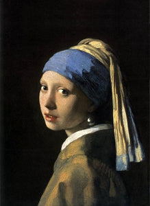 60185_C1_- titled 'Girl with a Pearl Earring' by artist Jan Vermeer - Wall Art Print on Textured Fine Art Canvas or Paper - Digital Giclee reproduction of art painting. Red Sky Art is India's Online Art Gallery for Home Decor - V108