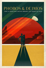 60098_C1_- titled 'Space X Mars Tourism Poster for Phobos and Deimos' by artist Vintage Reproduction - Wall Art Print on Textured Fine Art Canvas or Paper - Digital Giclee reproduction of art painting. Red Sky Art is India's Online Art Gallery for Home Decor - V1843