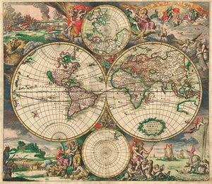 60242_C1_- titled 'World Map 1689' by artist Vintage Reproduction - Wall Art Print on Textured Fine Art Canvas or Paper - Digital Giclee reproduction of art painting. Red Sky Art is India's Online Art Gallery for Home Decor - V413