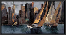 222241_FB1 'Sailboats in Manhattan I' by artist Marti Bofarull - Wall Art Print on Textured Fine Art Canvas or Paper - Digital Giclee reproduction of art painting. Red Sky Art is India's Online Art Gallery for Home Decor - 111_BMP306
