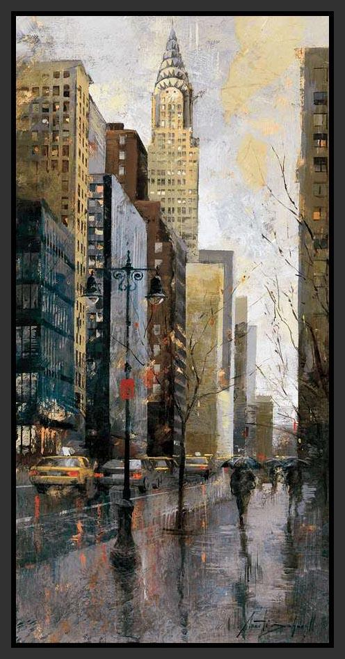 222245_FB1 'Rainy Day in Manhattan' by artist Marti Bofarull - Wall Art Print on Textured Fine Art Canvas or Paper - Digital Giclee reproduction of art painting. Red Sky Art is India's Online Art Gallery for Home Decor - 111_BMP350