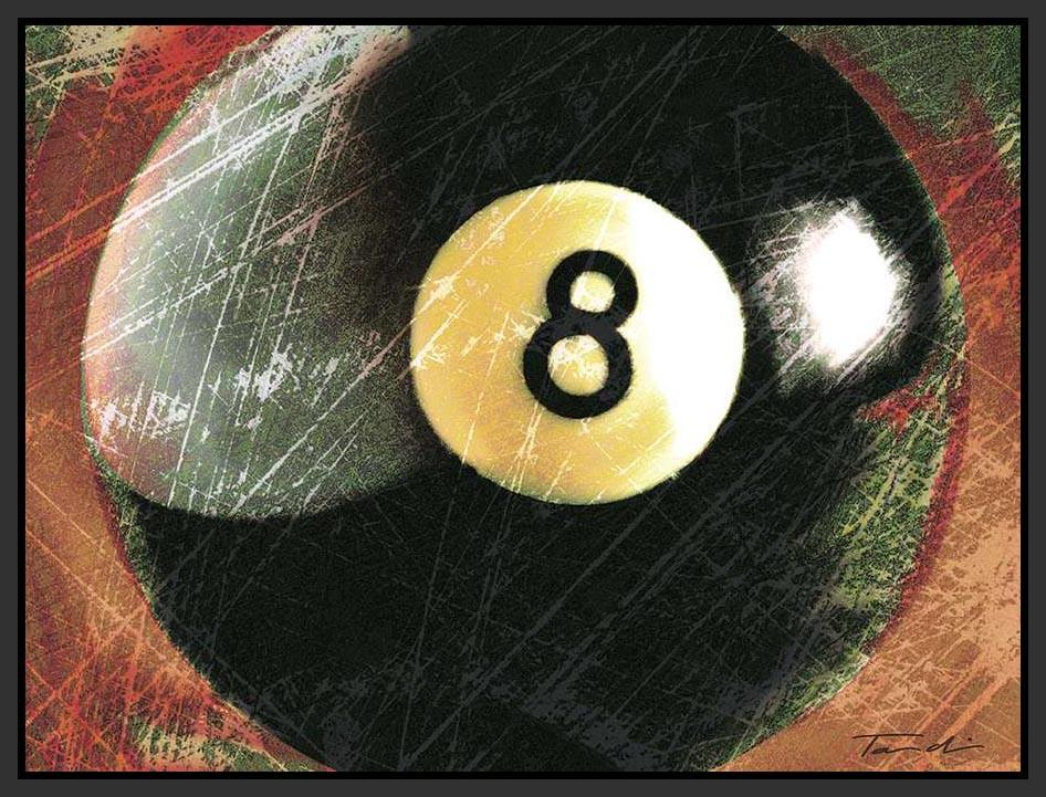 222330_FB1 'Behind The 8 Ball' by artist Tandi Venter - Wall Art Print on Textured Fine Art Canvas or Paper - Digital Giclee reproduction of art painting. Red Sky Art is India's Online Art Gallery for Home Decor - 111_POD5133