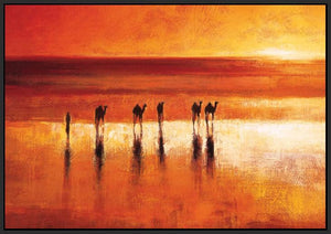 45192_FB1 - titled 'Camel Crossing' by artist Jonathan Sanders - Wall Art Print on Textured Fine Art Canvas or Paper - Digital Giclee reproduction of art painting. Red Sky Art is India's Online Art Gallery for Home Decor - 55_WDC21183