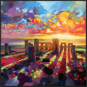 45175_FB1 - titled 'Stonehenge Equinox' by artist Scott Naismith - Wall Art Print on Textured Fine Art Canvas or Paper - Digital Giclee reproduction of art painting. Red Sky Art is India's Online Art Gallery for Home Decor - 55_WDC98337