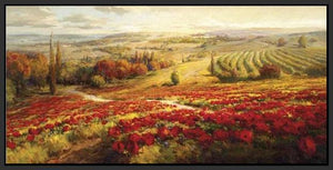 34732_FB1_- titled 'Red Poppy Panorama' by artist Roberto Lombardi - Wall Art Print on Textured Fine Art Canvas or Paper - Digital Giclee reproduction of art painting. Red Sky Art is India's Online Art Gallery for Home Decor - 761_TR3063