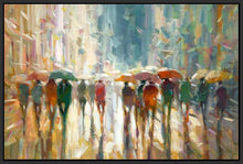 76069_FB1_- titled 'Downtown Rain' by artist Eric Jarvis - Wall Art Print on Textured Fine Art Canvas or Paper - Digital Giclee reproduction of art painting. Red Sky Art is India's Online Art Gallery for Home Decor - 761_TR42187