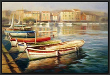 34592_FB1_- titled 'Harbor Morning II' by artist Roberto Lombardi - Wall Art Print on Textured Fine Art Canvas or Paper - Digital Giclee reproduction of art painting. Red Sky Art is India's Online Art Gallery for Home Decor - 761_TR5346