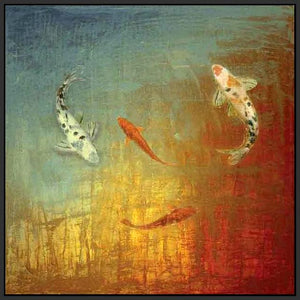 35013_FB1_- titled 'Koi Zen' by artist MJ Lew - Wall Art Print on Textured Fine Art Canvas or Paper - Digital Giclee reproduction of art painting. Red Sky Art is India's Online Art Gallery for Home Decor - 762_TR12362