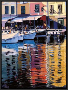 35125_FB1_- titled 'Reflections Of Portofino' by artist Tom Swimm - Wall Art Print on Textured Fine Art Canvas or Paper - Digital Giclee reproduction of art painting. Red Sky Art is India's Online Art Gallery for Home Decor - 762_TR18586