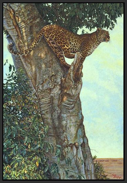 60084_FB1_- titled 'On the Lookout' by artist Kalon Baughan - Wall Art Print on Textured Fine Art Canvas or Paper - Digital Giclee reproduction of art painting. Red Sky Art is India's Online Art Gallery for Home Decor - B1738