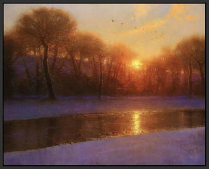 60172_FB1_- titled 'Morning on the Missouri ' by artist  Brent Cotton - Wall Art Print on Textured Fine Art Canvas or Paper - Digital Giclee reproduction of art painting. Red Sky Art is India's Online Art Gallery for Home Decor - C3140