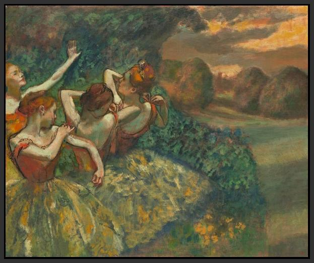 60244_FB1_- titled 'Four Dancers' by artist Edgar Degas - Wall Art Print on Textured Fine Art Canvas or Paper - Digital Giclee reproduction of art painting. Red Sky Art is India's Online Art Gallery for Home Decor - D2493