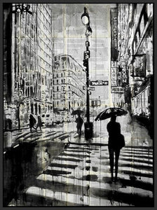 60211_FB1_- titled 'Manhattan Moment' by artist Loui Jover - Wall Art Print on Textured Fine Art Canvas or Paper - Digital Giclee reproduction of art painting. Red Sky Art is India's Online Art Gallery for Home Decor - J861