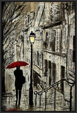 60086_FB1_- titled 'The Walk Home' by artist Loui Jover - Wall Art Print on Textured Fine Art Canvas or Paper - Digital Giclee reproduction of art painting. Red Sky Art is India's Online Art Gallery for Home Decor - J862